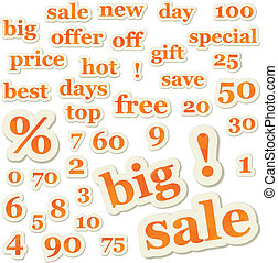 Set of vector sale signs and numbers
