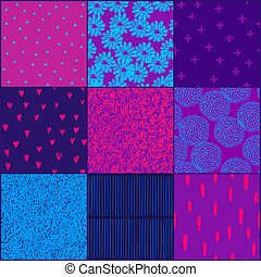 Set of vector seamless backgrounds with flowers, doodle pattern, chaotic lines, hearts.
