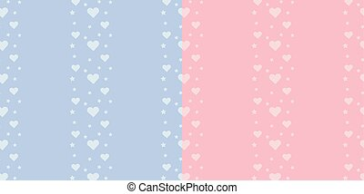 Set of vector seamless border pattern with stars and hearts on blue and pink background for boy and girl.
