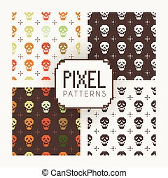 Set of vector seamless colorful and monochrome patterns of ...