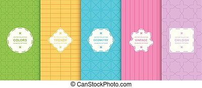 Set of vector seamless colorful geometric patterns. Bright creative backgrounds, vibrant trendy textures