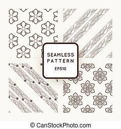 Set of vector seamless from flowers and ribbons with interwoven Art Nouveau