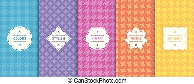 Set of vector seamless geometric patterns, cloth texture -  vibrant design. Textile colorful backgrounds
