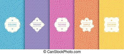 Set of vector seamless geometric patterns - tech design. Vibrant digital backgrounds, colorful striped texture