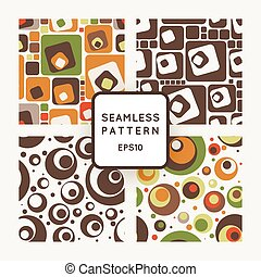 Set of vector seamless pattern of colored circles and squares in retrostile