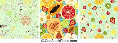 Set of vector seamless pattern with fruit slices. Apple, pear, peach, apricot, plum, cherry, kiwi, papaya, orange, lemon, lime, grapefruit, melon, strawberry on a blue background