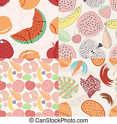 Set of vector seamless pattern with fruits and berries. Design element for websites, wallpaper,