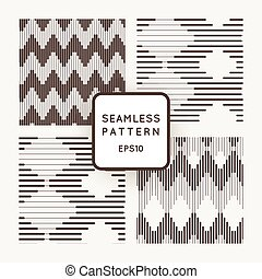 Set of vector seamless pattern with zigzags of parallel lines of varying thickness