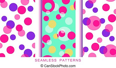 Set of vector seamless patterns. Endless textures in plastic pink proton purple turquoise white yellow colors. Abstract background with circles. Positive textures with isolated bubbles