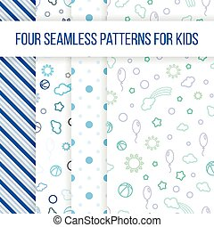 Set of vector seamless patterns for little boy