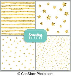 Set of vector seamless patterns with circles, stripes, stars, triangles, made of gold glitter.