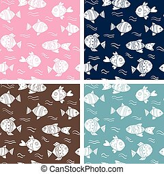 Set of vector seamless patterns with fish for summer designs, clothing and wrapping paper