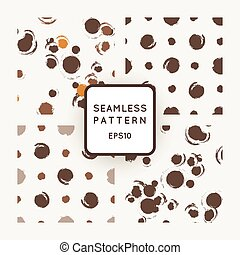Set of vector seamless patterns with grungy hand-drawn blots