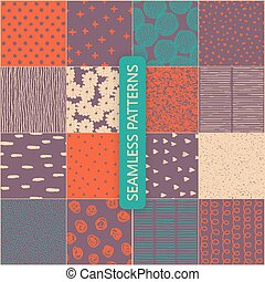 Set of vector seamless spring patterns with flowers, doodle pattern, dots, hearts, lines.