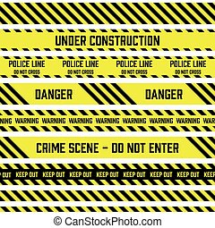 Set of vector seamless tapes used by police for restriction and danger zones. Yellow and black stripes