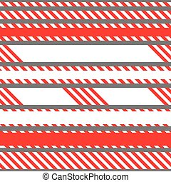 Set of vector seamless tapes used for restriction and danger zones. Red and white stripes