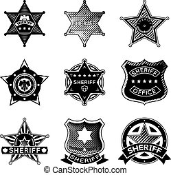 Set of vector sheriff or marshal badges and stars. Police...