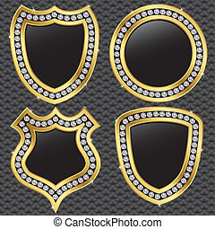 Set of vector shields, golden with diamonds, vector