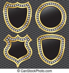 Set of vector shields, golden with diamonds, vector