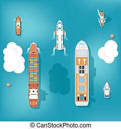 Set of vector ships. Top view. Yacht and travel, ocean and...