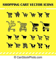 Set of vector shopping cart icons