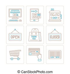 Set of vector shopping icons and concepts in mono thin line style