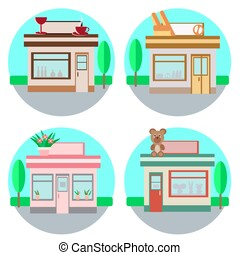 set of vector shops in a flat style