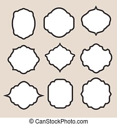 Set of vector  silhouette frames or cartouches for badges