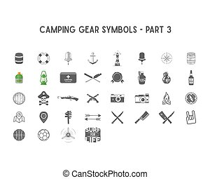 Set of Vector silhouette icons and shapes with different outdoor gear, camping symbols for creating adventure logo, badge designs, use in infographics, posters as  so on. Isolated  white.Part 3