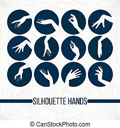 Set of vector silhouette icons displaying elegant female hands in different gestures