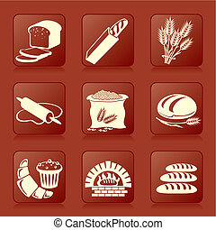 bread and pastry - set of vector silhouette icons of bread ...