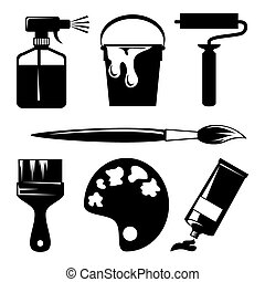 paint - set of vector silhouette icons of paint and painting...