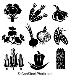 set of vector silhouette icons of vegetables. Black and white icons
