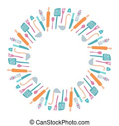 Set of vector silhouette kitchen utensils and collection of cookware icons wreath in round with place for text inside, cooking tools and kitchenware equipment