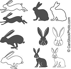 hare - Set of vector silhouette of the rabbit, hare. Hare ...