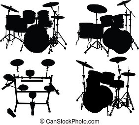drums kits - Set of vector silhouettes different drums kits