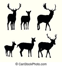 Set of vector silhouettes of deer with a fawn - Set of...