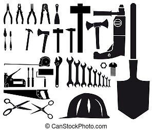 Set of vector silhouettes of different tools on white...