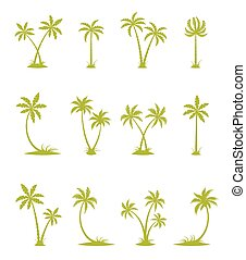 Set of vector silhouettes of palm trees.