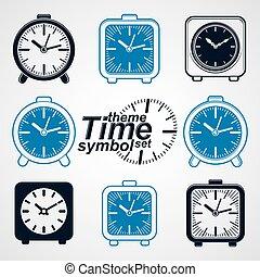 Set of vector simple elegant table clocks. Eps 8 high quality vector illustrations. Time theme web design elements.