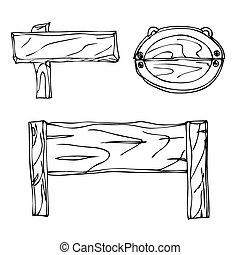 Set of Vector Single Sketch Signpost