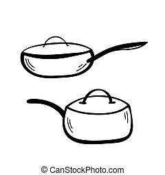 Set of Vector sketch hand drawn illustration of doodle pan kitchenware.