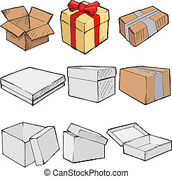 boxes - Set of vector, sketch illustration of boxes