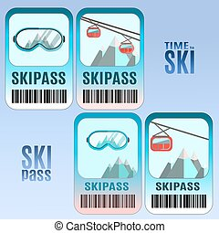 Set of vector ski pass template design.