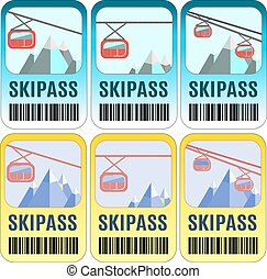 Set of vector skipass template design.