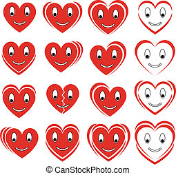 set of vector smile hearts