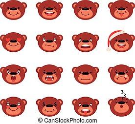 Set of vector smiley teddy bear