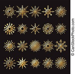 Set of vector snowflakes gold. Vector illustration.