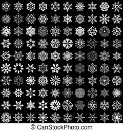 Set of vector snowflakes isolated on black background. 100 snowflake shapes.