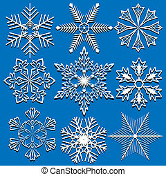Set of vector snowflakes isolated on blue background.